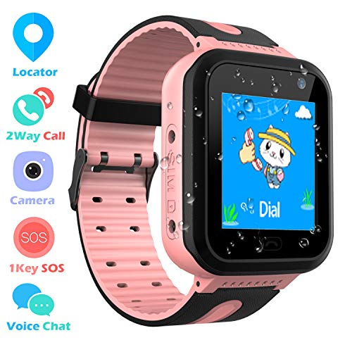 Kinder Smartwatch wasserdichte, Touchscreen Smart Watch Phone Kinder Intelligente Uhr mit SOS Anruf Sprachchat Kamera Wecker, Scherzt für Jungen Mädchen Schule Student Geschenk