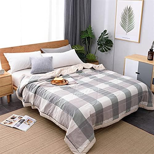 YYGQING Manta de verano de algodón para lavar a máquina, suave, sábana de cama, colcha fina para el hogar, colcha de verano (color: cuadros verdes, tamaño: 180 x 200 cm)