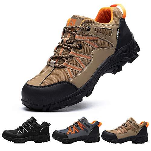 SUADEX Zapatos de Seguridad Mujer Hombre Zapatos de Trabajo Anti-presión y Anti-pinchazos Ligeras Industriales Transpirables,Caqui,38 EU