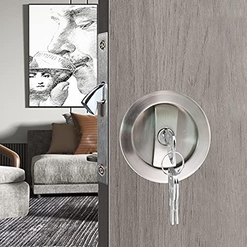 """CCJH Invisible Sliding Barn Wood Door Pocket Door Handle Lock with Keys (Sliver, Dia-2.95"""")"""