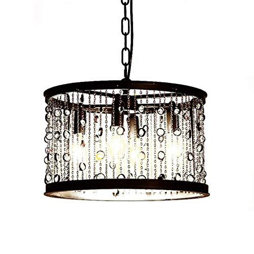 LIANGANAN Chandelier, Ceiling Light Americana Retro Style Industriale Ferro Gemstone Frange Candela Rotonda Lighting Nero zhuang94