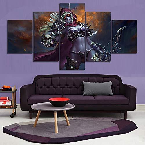 HIMFL 5 Panels Leinwanddruck Sylvanas Windläufer World of Warcraft Bilder Poster Kunstwerk Wandkunst Gemälde für Zuhause Dekor,A,30×50×2+30×70×2+30×80×1
