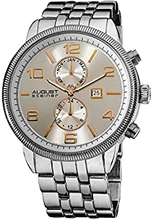 August Steiner Men's Silver Dial Stainless Steel Band Watch - AS8069SS