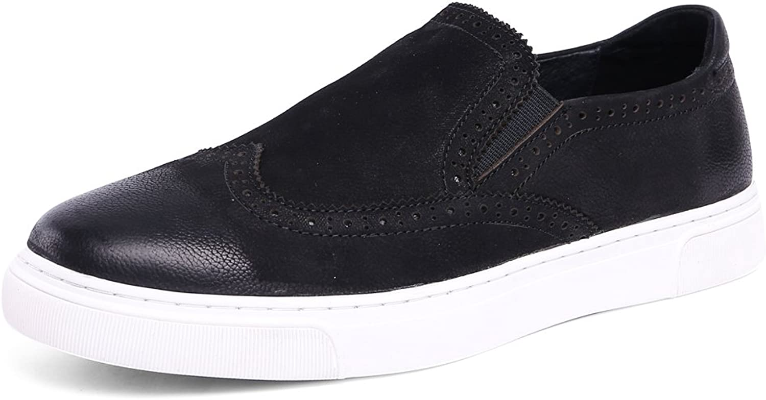 MedzRE Men's Cow Leather Slip-on Brogue Sneakers Flats