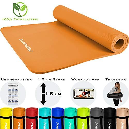 MSPORTS Gymnastikmatte Premium inkl. Tragegurt + Übungsposter + Workout App I Hautfreundliche Fitnessmatte 190 x 100 x 1,5 cm - Orange - Phthalatfreie Yogamatte