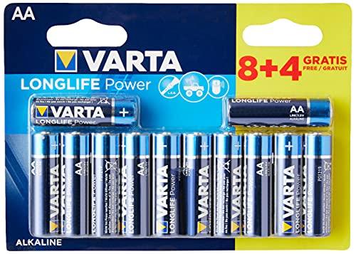 Varta 04906 121 472 Alkaline Batterie Longlife Power (High Energy), Mignon AA, 8+4 GRATIS