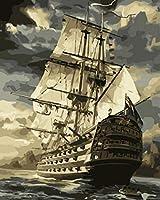 SJYHNB 番号でペイント デジタル油絵塗クリスマスプレゼント ヴィンテージ帆船 Diyペイントバイナンバーキット大人用 キャンバスペイント番号キットアートクラフトホームデコレーション 40 x 50 cm(フレーム無し)