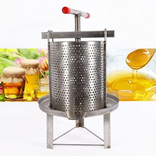 centrifuga per miele, macchina per miele, con piastra di pressione in acciaio inox 304 e telaio in acciaio inox 201, asta per pressare cera e miele, drenaggio della frutta