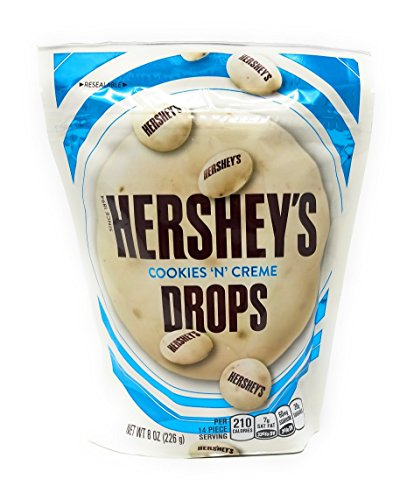 HERSHEY'S Cookies 'n' Crème DROPS, Solid White Crème Candy with Crunchy Bits in Resealable Pouch, 8 Ounce Bag (Pack of 4)