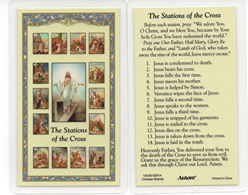 Autom Stations of The Cross Holy Prayer Card Fully Laminated with Bookmark