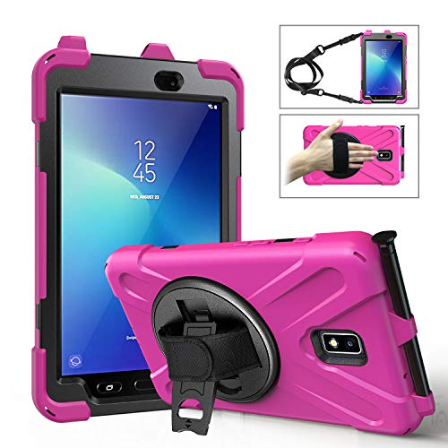 TianTa Galaxy Tab Active 3 8.0' SM-T575 / T577 with Pen Holder, Heavy Duty Shockproof Rugged Defender Case with Kickstand, Hand Strap and Shoulder Strap for Samsung Galaxy Tab Active 3 8.0 inch, Rose