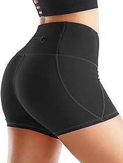 Rocorose Women's Yoga Shorts Tummy Control 4 Way Stretch High Waist Workout Running Shorts with Pockets