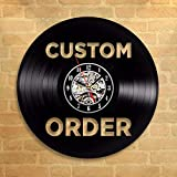 FUTIIF Custom Vinyl Record Wall Clock Custom Order Your Design Your Logo Your Personal Personalized Vinyl Wall Clock Watches with Led