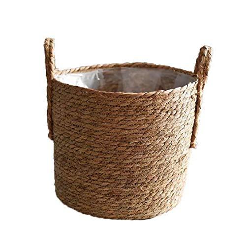 GGOOD Hecho a Mano de Almacenamiento de Paja Tejido de Cesta de Mimbre Rattan Planter Basket Maceta contenedor de Almacenamiento para la decoración de la Boda del jardín Tamaño 30cm