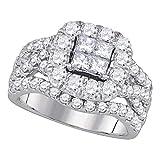 Solid 14k White Gold Princess Cut Diamond Cluster Halo Twist Bridal Wedding Engagement Ring Band 2.50 Ct. - Size 7