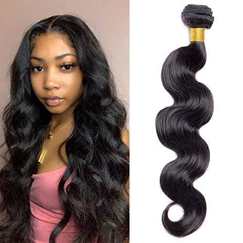 Maxine Brazilian Long Body Wave Virgin Human Hair 1Bundle 20 Inch 100% Unprocessed Hair Weave Bundles Extensions Deals 10a Natural Color