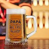 Jarra de Cerveza Personalizada Día del Padre - Jarra de Cerveza con PAPA Nombre Grabado ,Regalo Grabado y Personalizado para Celebraciones, Cumpleaños, Aniversarios (E)