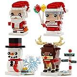 Huanxin Los Ladrillos Rompecabezas 3D Escena de la Navidad del muñeco de Nieve de Santa ELK Navidad Granny Bloques de construcción para niños Set de Bricolaje Juguetes educativos para niños-4pack