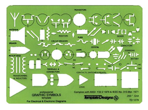 Alvin, TD1279, Professional Graphic Symbols Ruling Template, For Electrical and Electronic Diagrams - 5 x 7 x .03 inches
