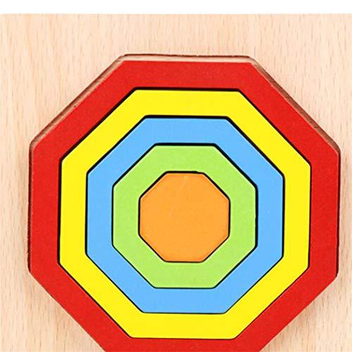 JXCG Puzzle de Casse-tête en Bois géométrique en Bois pour Enfants Adultes, Puzzles en Bois Jouets penchés géométriques