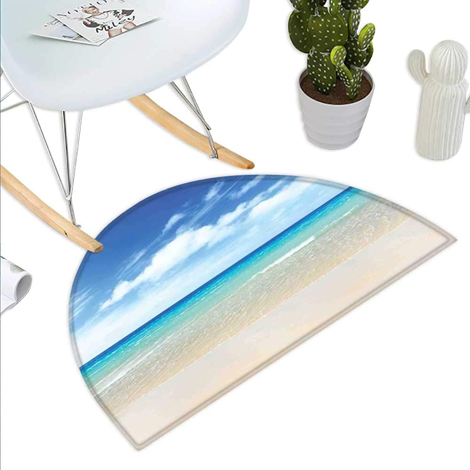 Ocean Decor Semicircle Doormat Tropical Sandy Beach at Summer Sunny Day Halfmoon doormats H 35.4  xD 53.1