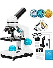 Kacsoo 2000 x dziecięcy mikroskop zestaw z przygotowanymi slajdami profesjonalny łeb monokularowy gruby i precyzyjny podwójny oświetlacz LED dla dzieci studentów dorosłych