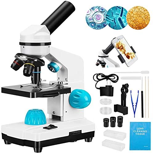 Kacsoo 40-2000X Microscopio de Ciencias para niños Principiantes Niños Estudiantes, Juego de Diapositivas, Tres Lentes, ergonomía compuesta, para experimentos científicos de Estudiantes