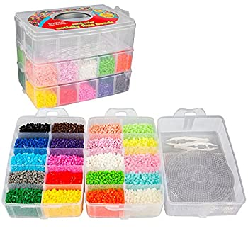 20,000 Fuse Beads Master Creativity Builder Kit- 20 Presorted Colors  5 Glow in The Dark  w Tweezers Peg Boards Ironing Paper Case - Works with Perler Beads Pixel Art Project