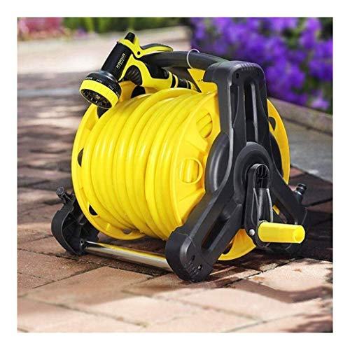 L.BAN Gartenschlauch , 10-40 m Flachschlauch und Sprühdüse mit Rolle Easy Wind Reel 9 Einstellungen - Gelber Gartenschlauch erweiterbar (Farbe: Gelb, Größe: 15 m)