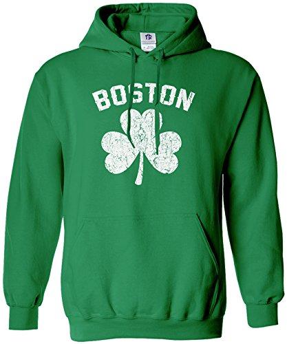 Threadrock Men's Boston Shamrock Irish Pride Hoodie Sweatshirt L Kelly Green