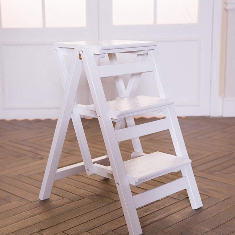 Djyyh Step Stool Folding Ladder Stool,Solid Wood Flower Shelf Stand-Household Wooden Ladder Multifunction Indoor Ascend Ladder (color   White, Size   3 Steps)