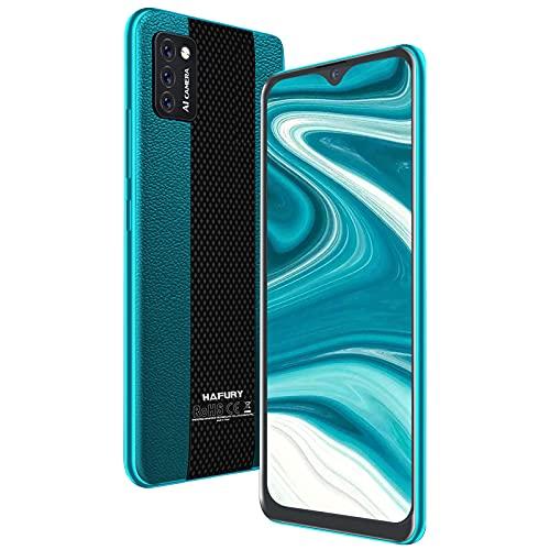 Hafury Smartphone Libre Barato y Bueno, Móvil Libre 4G Inteligente Android 10 Cámara Triple 5.5 Pulgadas Dual Sim 3100mAh, Tres Ranuras Desbloqueo Facial Memoria Expandible(hasta 128 GB), Verde