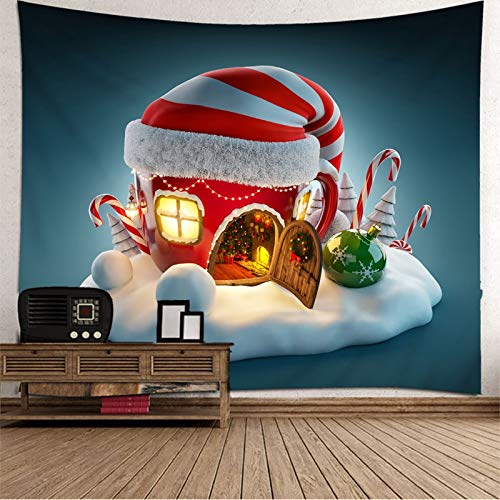 Dreamdge Christmas Theme Tapestry Wall Hanging Christmas Small House, Tapestry Wall Hangings Art for Living Room Bedroom Decor Size 150X150cm