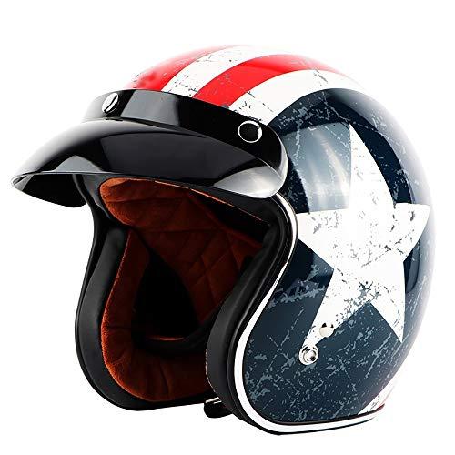 Jet Vintage Casco Moto Motocross 3/4 Casco Cuero Windproof Sandproof ECE Certificado para Adultos Mujer y Hombre Retro Scooter Motocicleta Helmet Chopper Cruiser 57-64cm