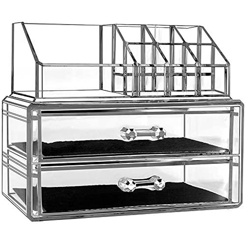 Boîte de rangement pour bijoux ou maquillage avec 2 tiroirs Transparent