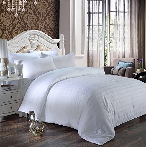 Alicemall 4 Jahreszeiten Bettdecke Baumwolle Steppdecke atmungsaktiv, Tagesdecke Decke Füllung 100prozent Federn (200 x 230 cm, weiß 1)