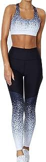 Women's 2 PCS Pattern Print Sports Bra Pants Set Yoga Wear Set Racerback Bra and Leggings Tights