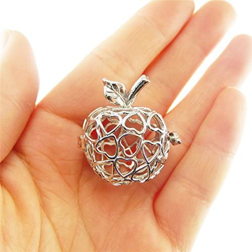 JJGrace 5PCS White Gold Plated Pearl Bead Cage Locket Pendants for Essential Oil Scent Diffuser product image