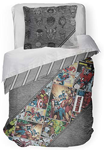 Jay Franco Marvel Comics 80th Anniversary Full/Queen Comforter & Sham Set - Super Soft Kids Reversible Bedding - Fade Resistant Microfiber (Official Marvel Product)