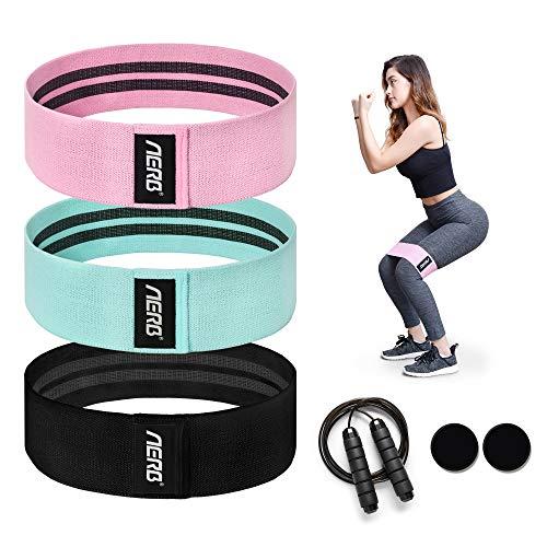 Aerb Widerstandsbänder, Fitnessbänder Set Yogagurt in 3 Zugkraftstärken Trainingsband und Unterstützung fürs Beintraining, Krafttraining undKlimmzüge(Inklusive Springseil und Rutschfester Schale)