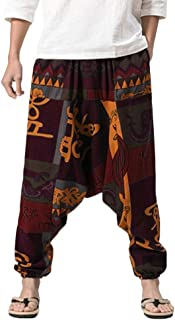 iNoDoZ Men's Harem Pants Loose Boho Cotton Linen Festival Baggy Trousers Nationality Style Retro Gypsy Pants