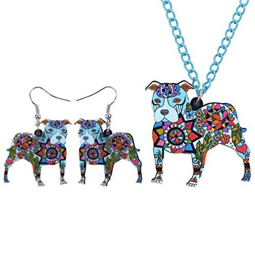 Jskdzfy Conjuntos de joyería de acrílico Pit Dog Collar Pendientes Gargantilla Collar Moda Joyería Primavera Mujer Niña Regalo (Color: Azul)