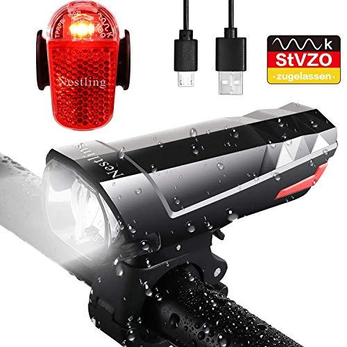 Nestling LED Fahrradlicht Set, StVZO Zugelassen 500Lumen USB Wiederaufladbare LED Fahrradbeleuchtung Set mit IPX6 Wasserdicht LED Fahrradlampe fahrradlichter & Rücklichter für Fahrrad