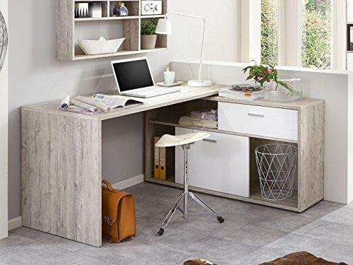 möbelando Eckschreibtisch Schreibtisch Computertisch Arbeitstisch Laptoptisch Tisch Felic II (Sandeiche/Hochglanz-weiß)