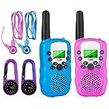 aovowog Walkie Talkies para Nños Juguete de Radio de 2 vías con Linterna LCD retroiluminada Alcance de 3 Millas para Aventuras externas, Camping, Senderismo (Rosa y Azul)