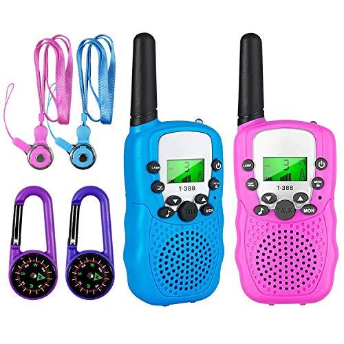 aovowog Walkie Talkies für Kinder,8 Kanäle Funkgerät mit Hintergrundbeleuchteter LCD-Taschenlampe 3km Reichweite Spielzeug für Mädchen Junge 3 4 5 6 7 8 Jahre (Pink & Blau)