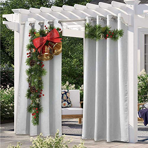 Patio Curtain Coniferous Tree Ornament with Customary Bells and Baubles Hanging Xmas Corner Waterproof and Light Blocking Drapes for Sliding Door/Foyer/Arbor/Lanai Multicolor W120 x L96 Inch