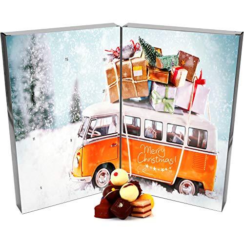 Hallingers 24 Pralinen-Adventskalender, mit/ohne Alkohol (300g) - Retrobus (Buch-Karton) - zu Weihnachten Adventskalender