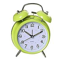 CUTICATE デジタルテーブルツインベル目覚まし時計大音量ウェイクアップチャイム時計バッテリー電源6インチ - 緑, 6x5インチ