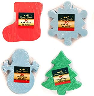 80 Piece Pack Large Foam Christmas Crafting Shapes - Snowflake Christmas Tree Stocking and more